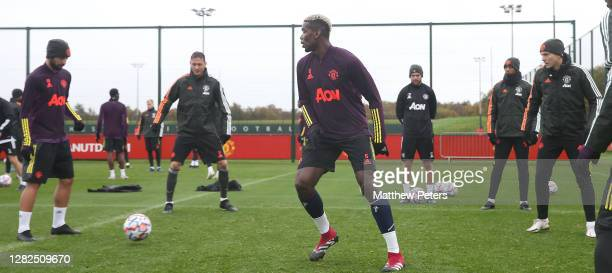 Bruno Fernandes Nemanja Matic Paul Pogba Anthony Martial Victor Lindelof of Manchester United in action during a first team training session ahead of...