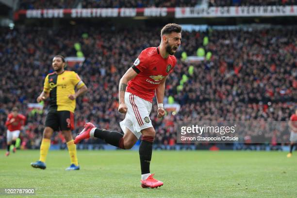Bruno Fernandes of Man Utd celebrates after scoring their 1st goal during the Premier League match between Manchester United and Watford FC at Old...