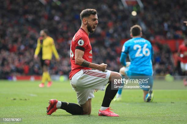 Bruno Fernandes of Man Utd celebrates winning a penalty during the Premier League match between Manchester United and Watford FC at Old Trafford on...