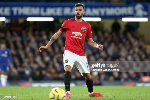 Bruno Fernandes of Man Utd during the Premier League match between Chelsea FC and Manchester United at Stamford Bridge on February 17 2020 in London...