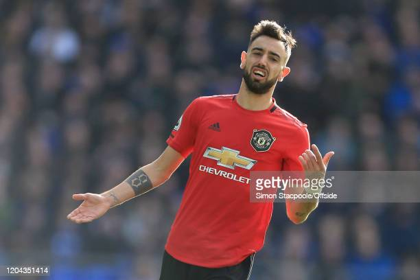 Bruno Fernandes of Man Utd looks dejected during the Premier League match between Everton FC and Manchester United at Goodison Park on March 1, 2020...