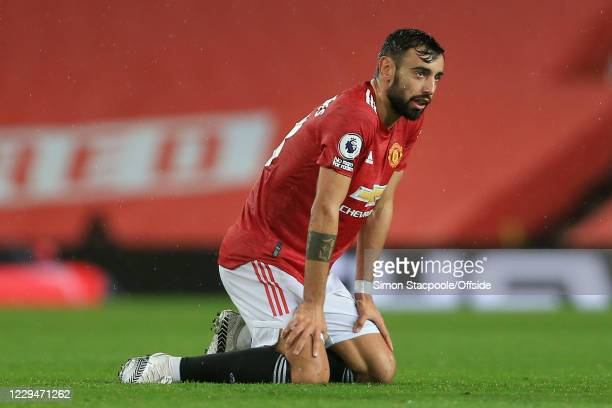 Bruno Fernandes of Man Utd looks dejected during the Premier League match between Manchester United and Chelsea at Old Trafford on October 24, 2020...