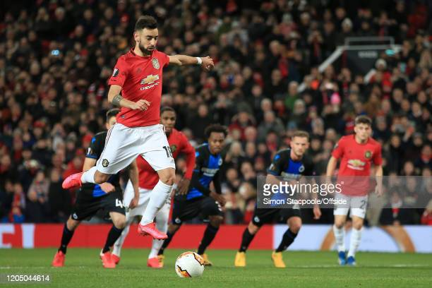Bruno Fernandes of Man Utd skips in the air before scoring their 1st goal with a penalty during the UEFA Europa League round of 32 second leg match...