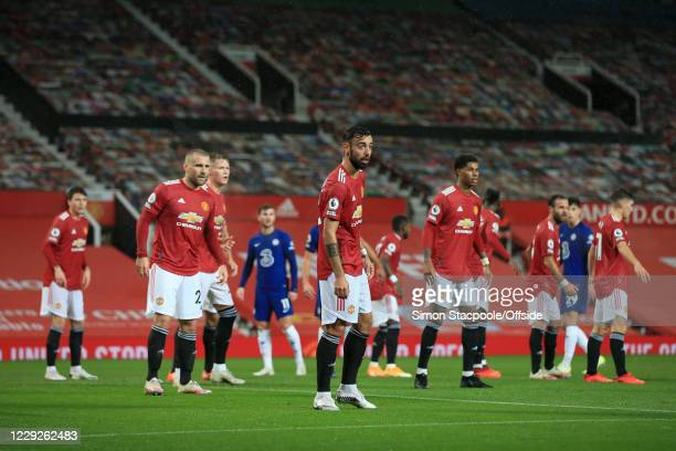 Bruno Fernandes of Man Utd stands at the front as players await a corner kick during the Premier League match between Manchester United and Chelsea...