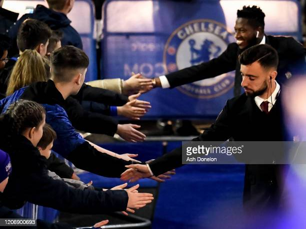 Bruno Fernandes of Manchester United arrives ahead of the Premier League match between Chelsea FC and Manchester United at Stamford Bridge on...