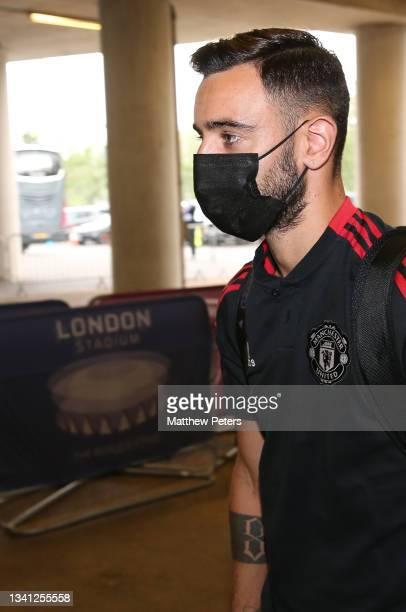 Bruno Fernandes of Manchester United arrives ahead of the Premier League match between West Ham United and Manchester United at London Stadium on...