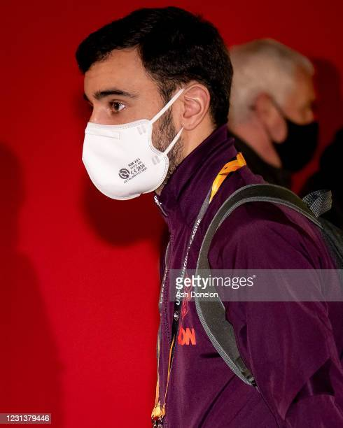 Bruno Fernandes of Manchester United arrives prior to the UEFA Europa League Round of 32 match between Manchester United and Real Sociedad at Old...