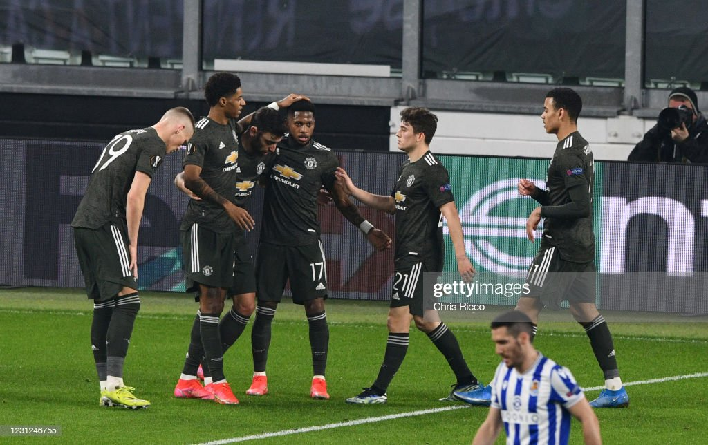 Real Sociedad v Manchester United  - UEFA Europa League Round Of 32 Leg One : News Photo