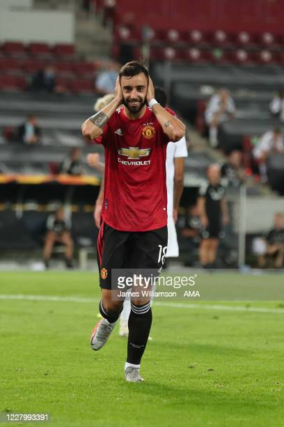 Bruno Fernandes of Manchester United celebrates after scoring a goal to make it 1-0 from a penalty during the UEFA Europa League Quarter Final...