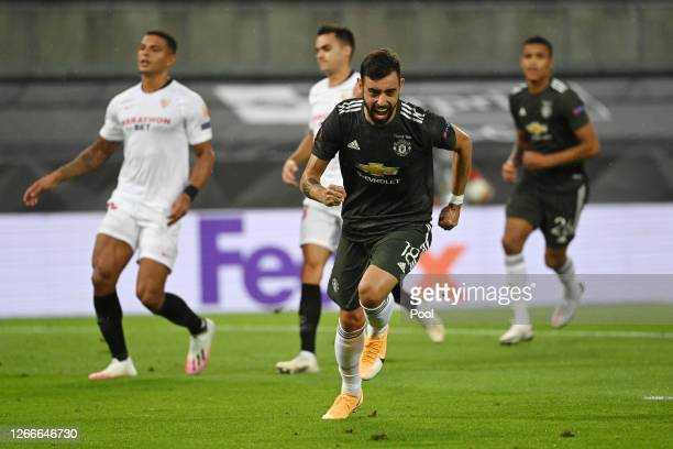 Bruno Fernandes of Manchester United celebrates after scoring his team's first goal from the penalty spot during the UEFA Europa League Semi Final...