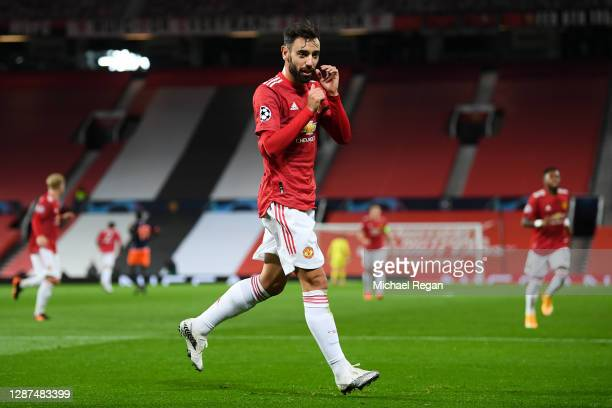 Bruno Fernandes of Manchester United celebrates after scoring their sides second goal during the UEFA Champions League Group H stage match between...