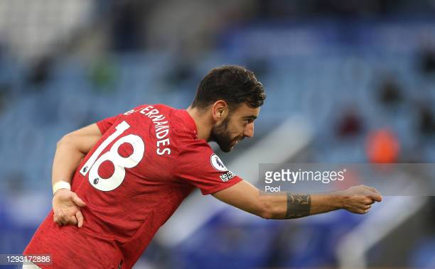 Bruno Fernandes of Manchester United celebrates after scoring their sides second goal during the Premier League match between Leicester City and...