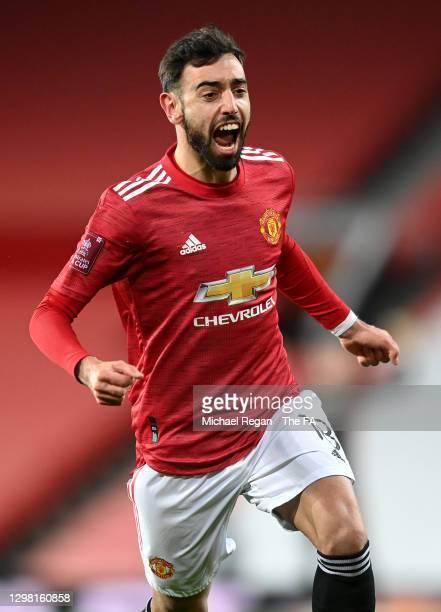 Bruno Fernandes of Manchester United celebrates after scoring their sides third goal from a free kick during The Emirates FA Cup Fourth Round match...