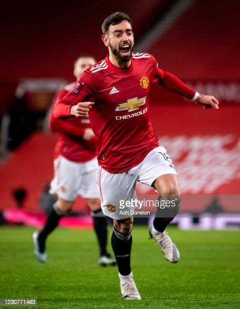 Bruno Fernandes of Manchester United celebrates scoring a goal to make the score 3-2 during the Emirates FA Cup Fourth Round match between Manchester...