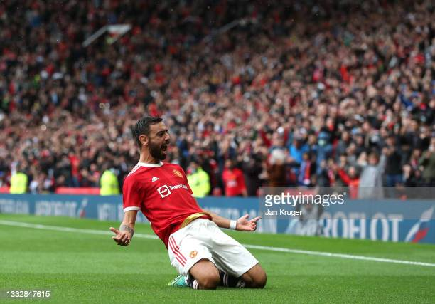 Bruno Fernandes of Manchester United celebrates scoring during the pre-season friendly match between Manchester United and Everton at Old Trafford on...