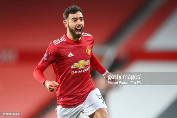 Bruno Fernandes of Manchester United celebrates scoring the winning goal during The Emirates FA Cup Fourth Round match between Manchester United and...