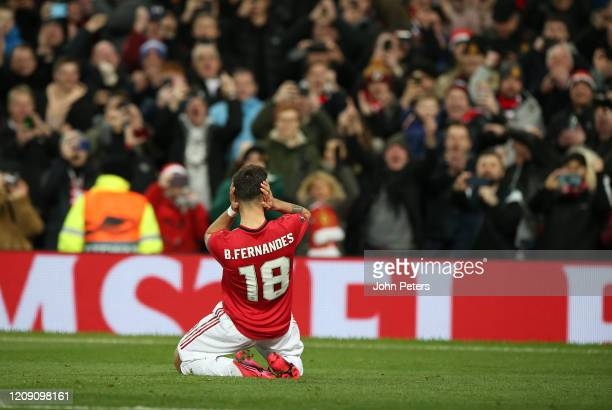 Bruno Fernandes of Manchester United celebrates scoring their first goal during the UEFA Europa League round of 32 second leg match between...