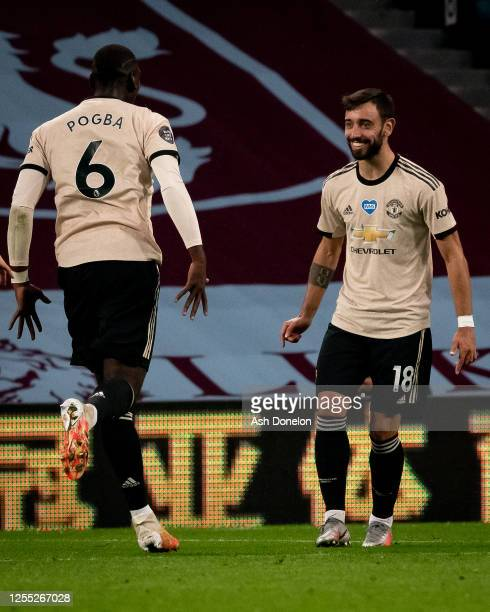 Bruno Fernandes of Manchester United celebrates scoring their first goal during the Premier League match between Aston Villa and Manchester United at...