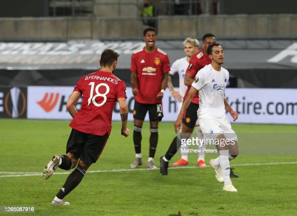 Bruno Fernandes of Manchester United celebrates scoring their first goal during the UEFA Europa League Quarter Final between Manchester United and FC...