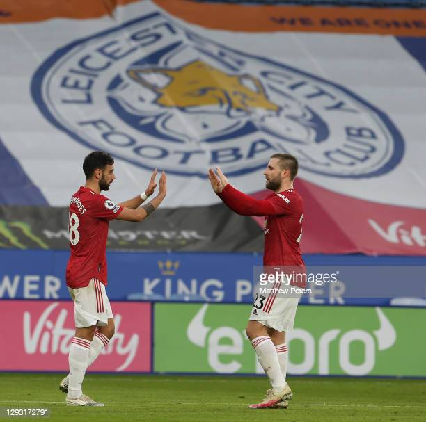 Bruno Fernandes of Manchester United celebrates scoring their second goal during the Premier League match between Leicester City and Manchester...
