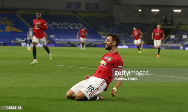 Bruno Fernandes of Manchester United celebrates scoring their third goal during the Premier League match between Brighton & Hove Albion and...