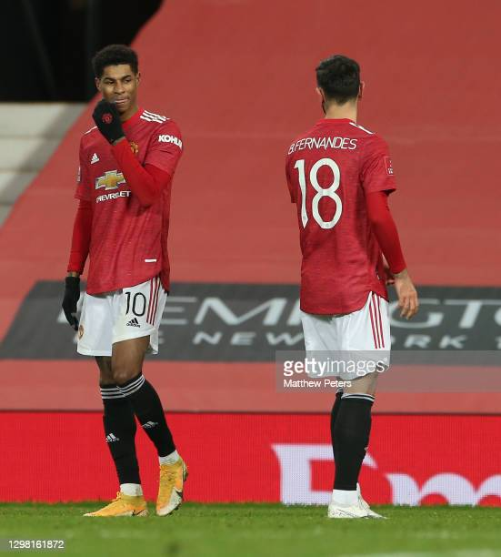 Bruno Fernandes of Manchester United celebrates scoring their third goal during the Emirates FA Cup Fourth Round match between Manchester United and...