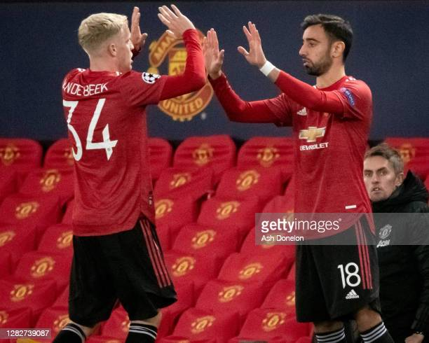 Bruno Fernandes of Manchester United comes on as a substitute for Donny van de Beek during the UEFA Champions League Group H stage match between...