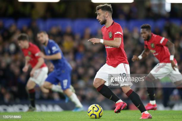 Bruno Fernandes of Manchester United controls the ball during the Premier League match between Chelsea FC and Manchester United at Stamford Bridge on...