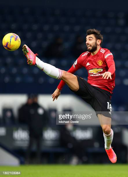 Bruno Fernandes of Manchester United controls the ball during the Premier League match between West Bromwich Albion and Manchester United at The...