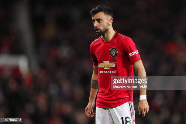 Bruno Fernandes of Manchester United during the Premier League match between Manchester United and Wolverhampton Wanderers at Old Trafford on...