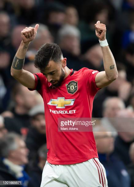Bruno Fernandes of Manchester United during the Premier League match between Chelsea FC and Manchester United at Stamford Bridge on February 17 2020...