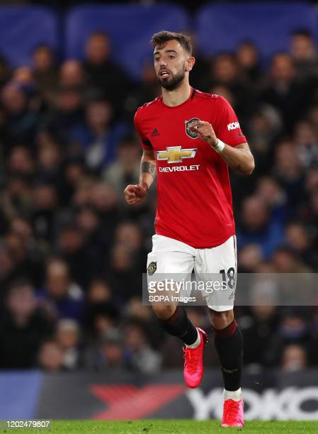 Bruno Fernandes of Manchester United during the Premier League match between Chelsea and Manchester United at Stamford Bridge Final Score Chelsea 02...
