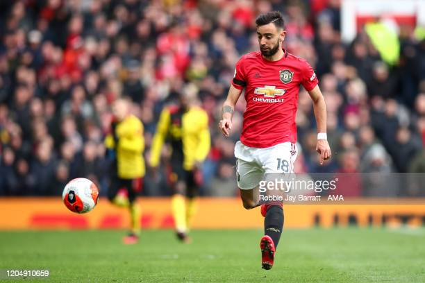 Bruno Fernandes of Manchester United during the Premier League match between Manchester United and Watford FC at Old Trafford on February 23 2020 in...