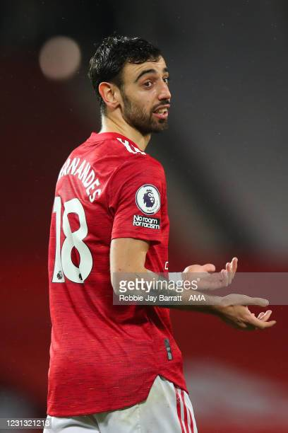 Bruno Fernandes of Manchester United during the Premier League match between Manchester United and Newcastle United at Old Trafford on February 21,...