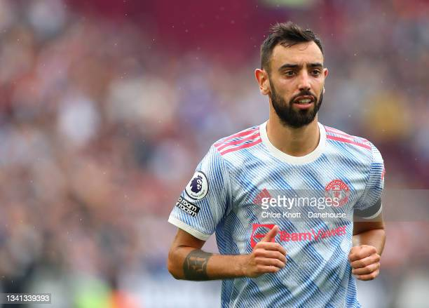 Bruno Fernandes of Manchester United during the Premier League match between West Ham United and Manchester United at London Stadium on September 19,...
