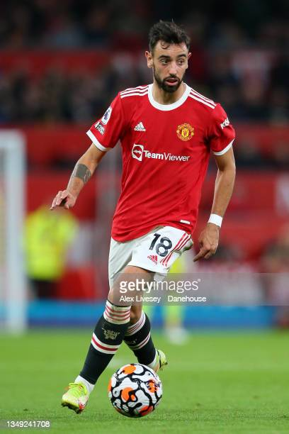 Bruno Fernandes of Manchester United during the Premier League match between Manchester United and Liverpool at Old Trafford on October 24, 2021 in...