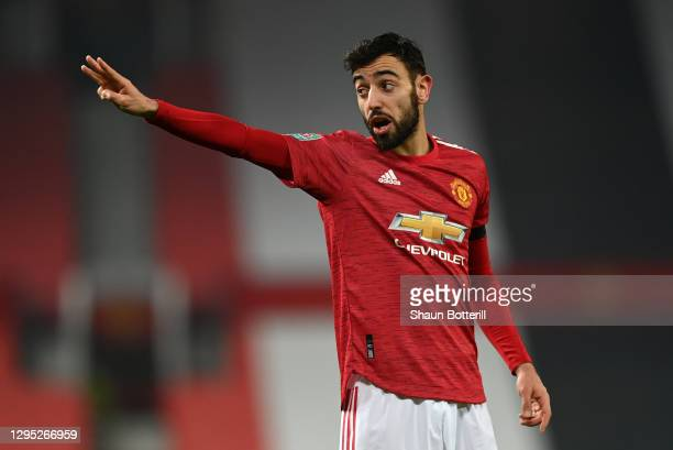 Bruno Fernandes of Manchester United gestures during the Carabao Cup Semi Final match between Manchester United and Manchester City at Old Trafford...