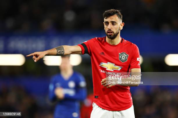 Bruno Fernandes of Manchester United gestures during the Premier League match between Chelsea FC and Manchester United at Stamford Bridge on February...