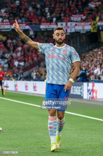 Bruno Fernandes of Manchester United gestures during the UEFA Champions League group F match between BSC Young Boys and Manchester United at Stadion...