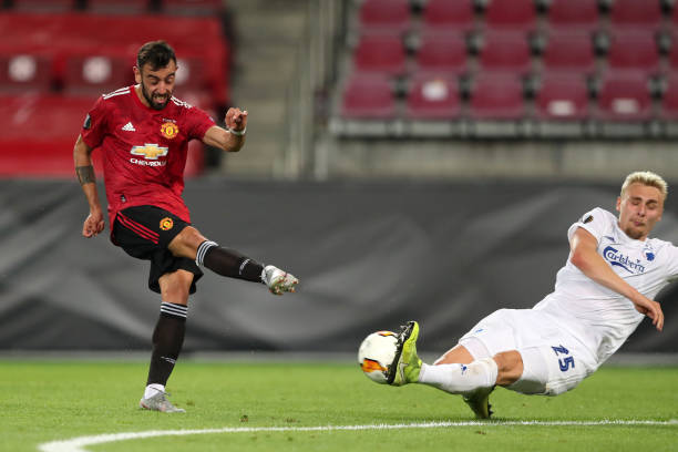 Bruno Fernandes of Manchester United has a shot blocked by Victor Nelsson of FC Copenhagen during the UEFA Europa League Quarter Final between...