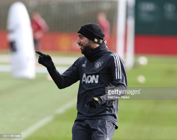 Bruno Fernandes of Manchester United in action during a first team training session at Aon Training Complex on March 11 2020 in Manchester England