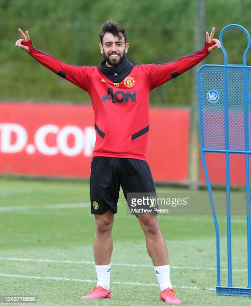 Bruno Fernandes of Manchester United in action during a first team training session at Aon Training Complex on June 03, 2020 in Manchester, England.