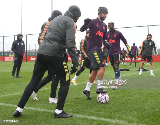 Bruno Fernandes of Manchester United in action during a first team training session ahead of the UEFA Champions League Group H stage match between...