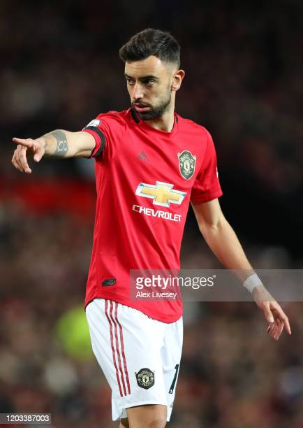 Bruno Fernandes of Manchester United in action during the Premier League match between Manchester United and Wolverhampton Wanderers at Old Trafford...