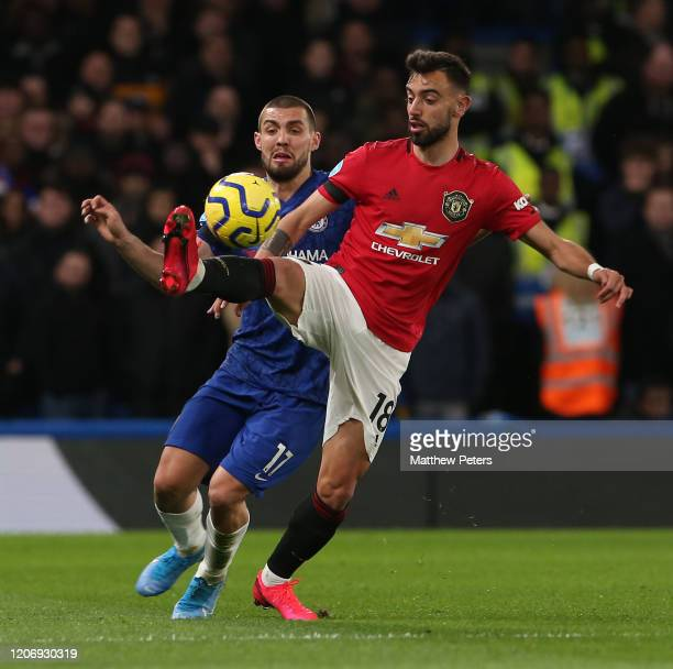 Bruno Fernandes of Manchester United in action during the Premier League match between Chelsea FC and Manchester United at Stamford Bridge on...