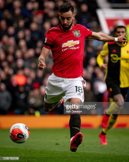 Bruno Fernandes of Manchester United in action during the Premier League match between Manchester United and Watford FC at Old Trafford on February...