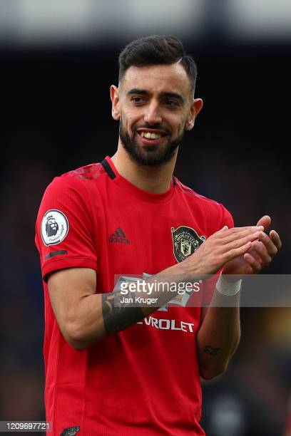 Bruno Fernandes of Manchester United in action during the Premier League match between Everton FC and Manchester United at Goodison Park on March 01...
