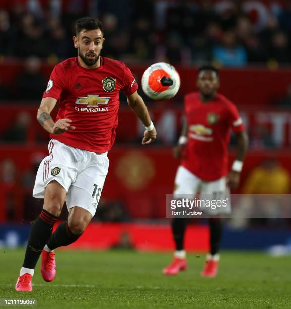 Bruno Fernandes of Manchester United in action during the Premier League match between Manchester United and Manchester City at Old Trafford on March...