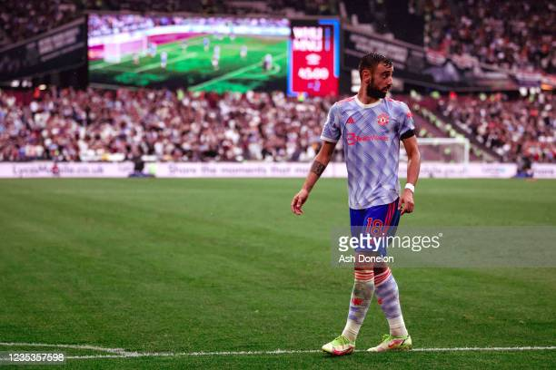 Bruno Fernandes of Manchester United in action during the Premier League match between West Ham United and Manchester United at London Stadium on...