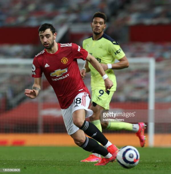Bruno Fernandes of Manchester United in action during the Premier League match between Manchester United and Newcastle United at Old Trafford on...
